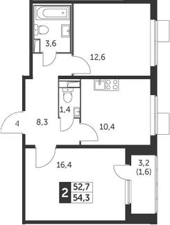2-комнатная, 54.3 м²– 2
