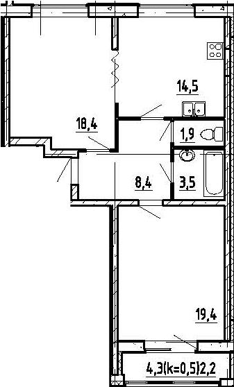 2-к.кв, 68.3 м², 13 этаж