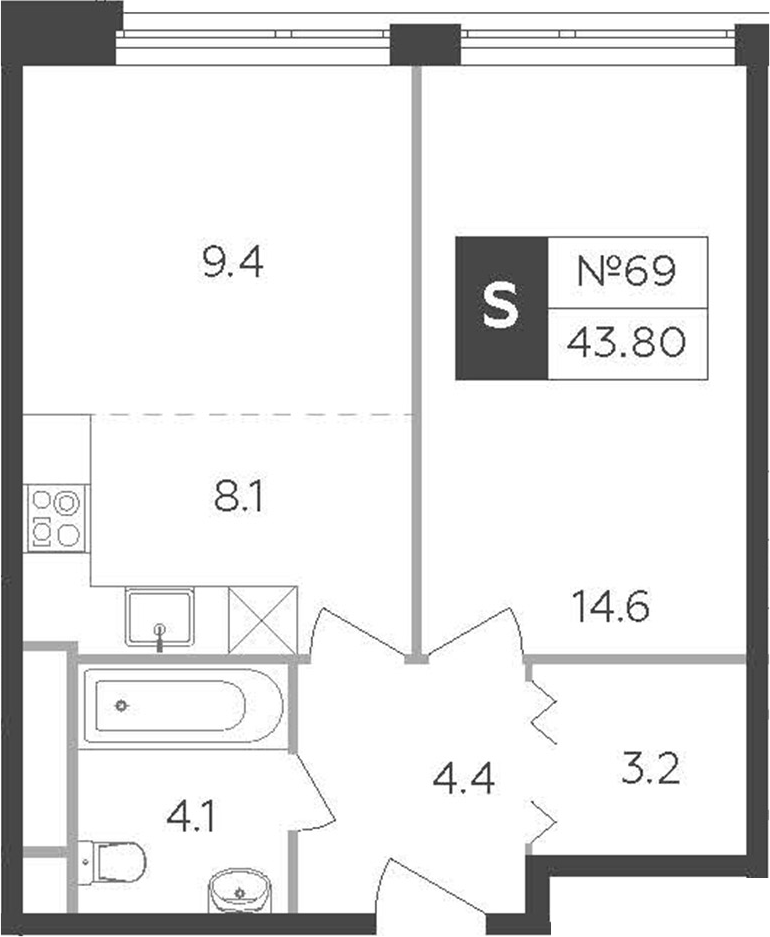2-к.кв (евро), 43.8 м²