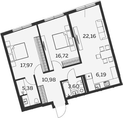 3Е-комнатная, 83 м²– 2