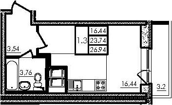 Студия, 23.74 м², 23 этаж