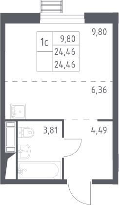Студия, 24.46 м²