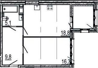 2Е-к.кв, 53 м², 4 этаж