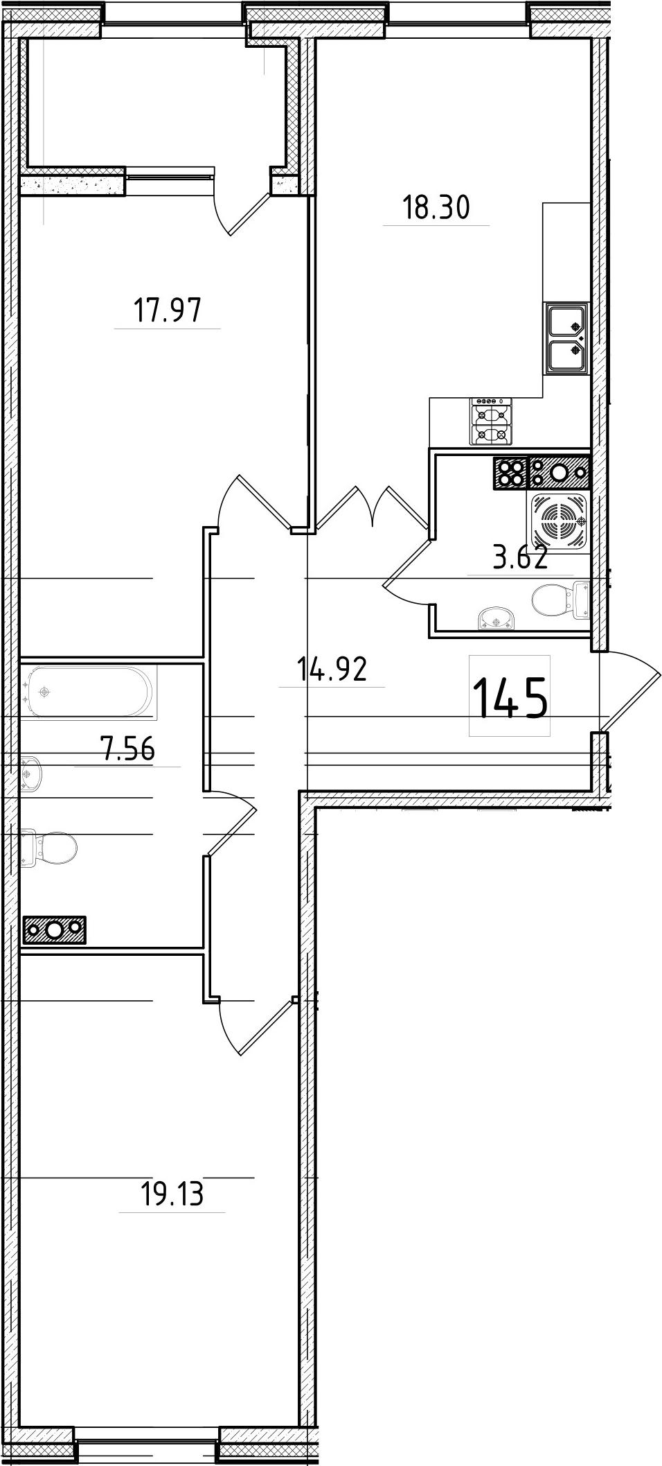 3-к.кв (евро), 86.46 м²