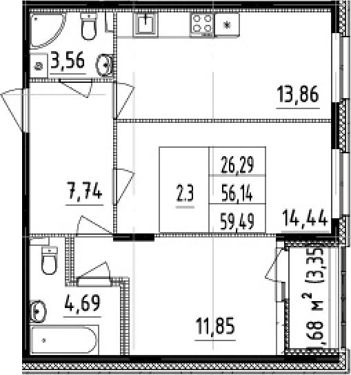 2-к.кв, 56.14 м²