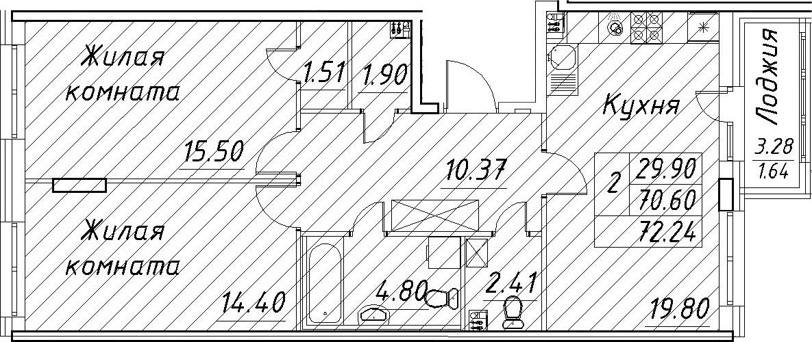 3-к.кв (евро), 73.88 м²