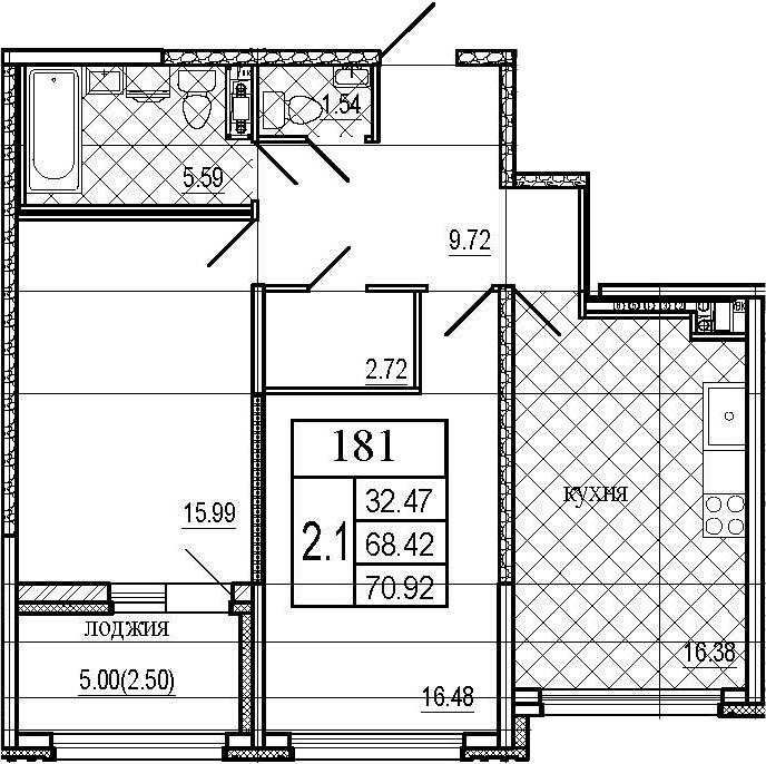 3Е-к.кв, 70.92 м²