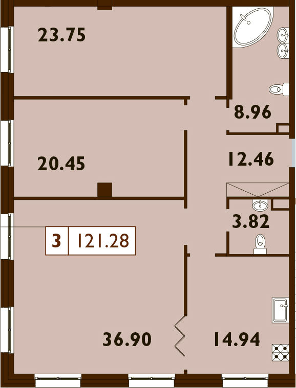 3-к.кв, 121.28 м²