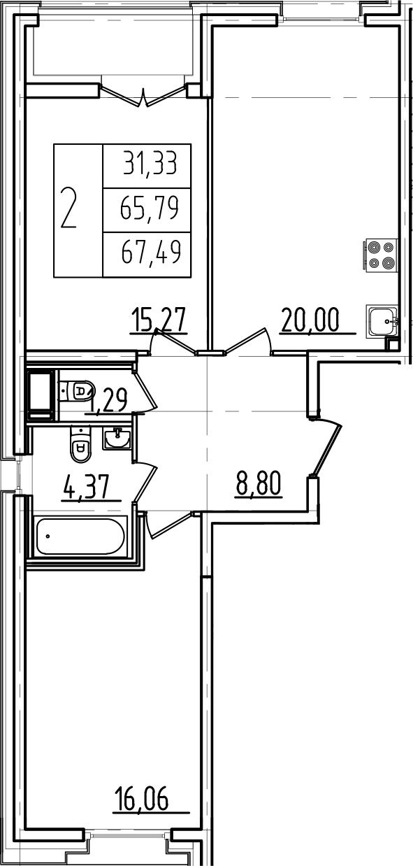 3Е-к.кв, 67.49 м²