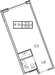 Студия, 25.26 м²– 2