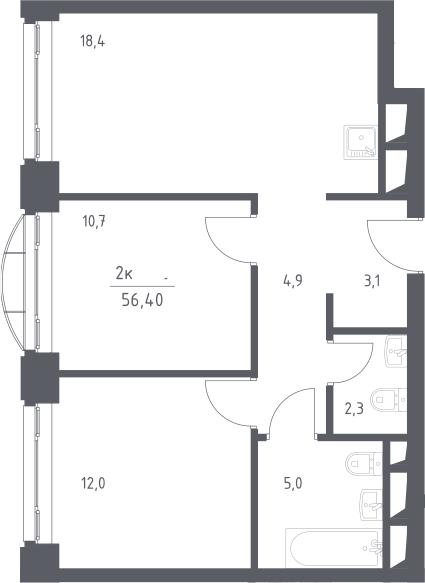 3Е-к.кв, 56.4 м², 7 этаж