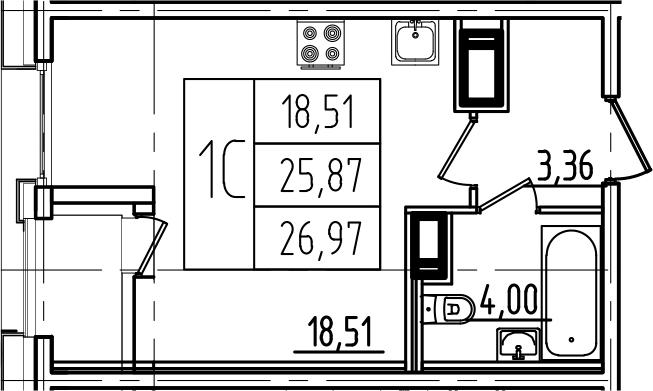 Студия, 26.97 м²