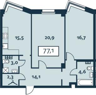 2-к.кв, 77.1 м²