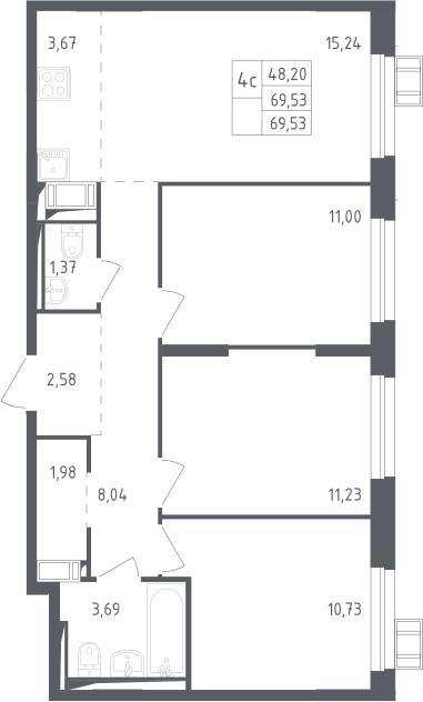 4Е-к.кв, 69.53 м², 11 этаж