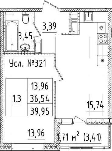 2Е-к.кв, 36.54 м², 12 этаж
