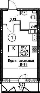 Студия, 26.82 м²