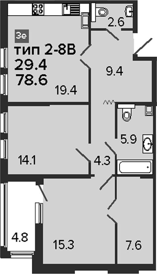 3Е-комнатная квартира, 78.6 м², 8 этаж – Планировка