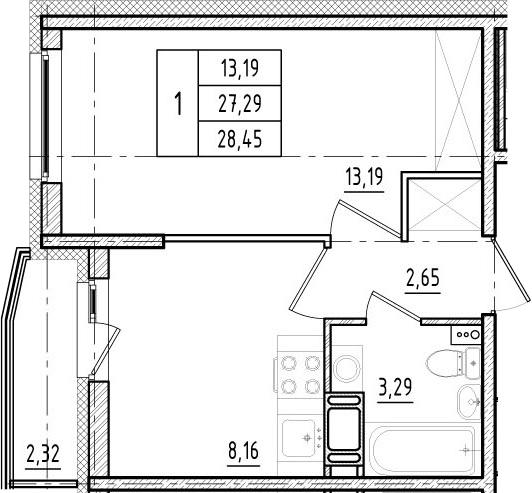 1-комнатная, 27.29 м²– 2