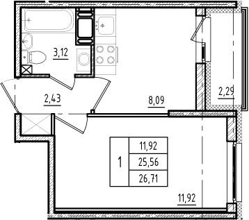 1-к.кв, 25.56 м², 13 этаж