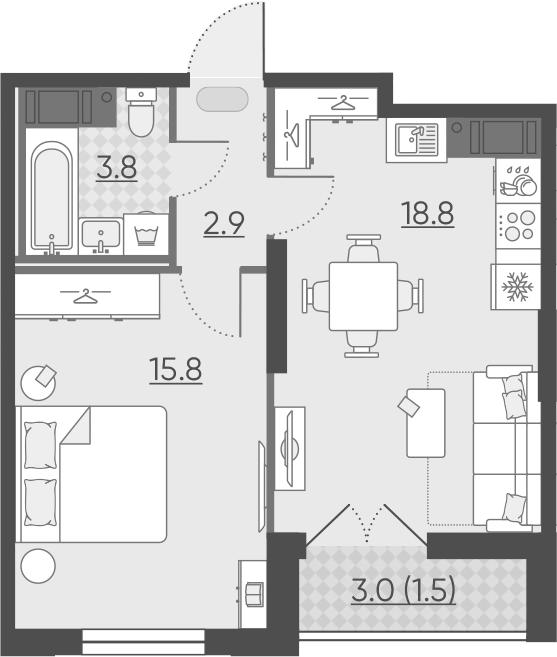 2Е-к.кв, 42.8 м²