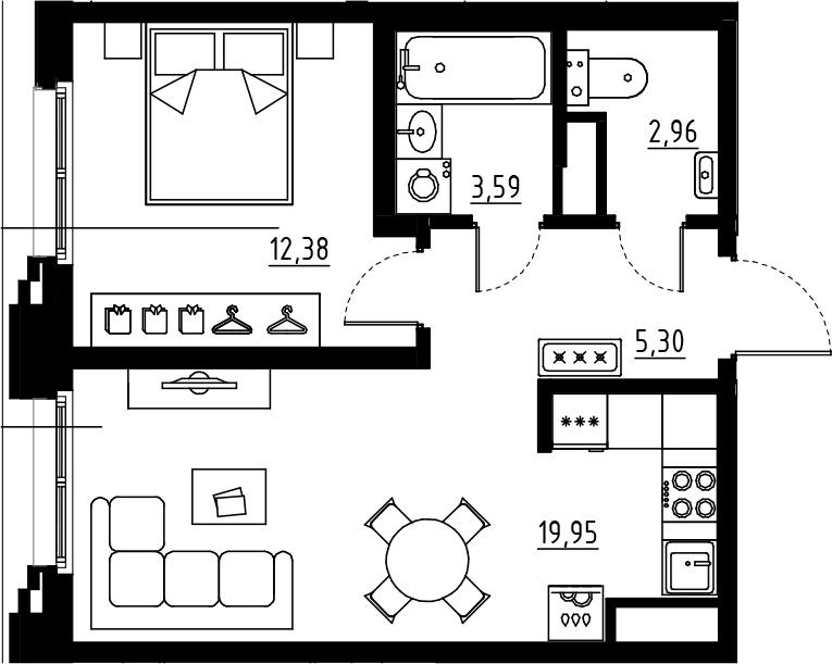 2Е-комнатная, 44.18 м²– 2