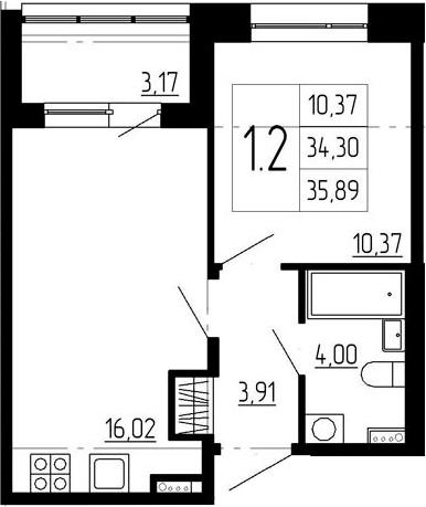 2-к.кв (евро), 37.47 м²