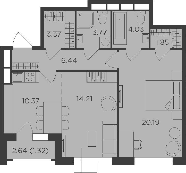 2Е-к.кв, 65.55 м², 11 этаж