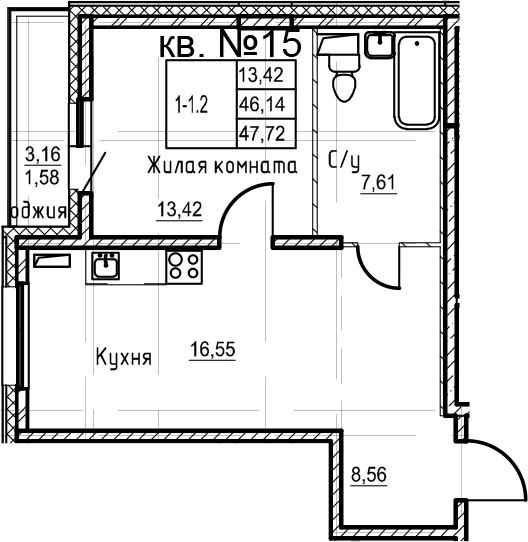 2-к.кв (евро), 49.3 м²