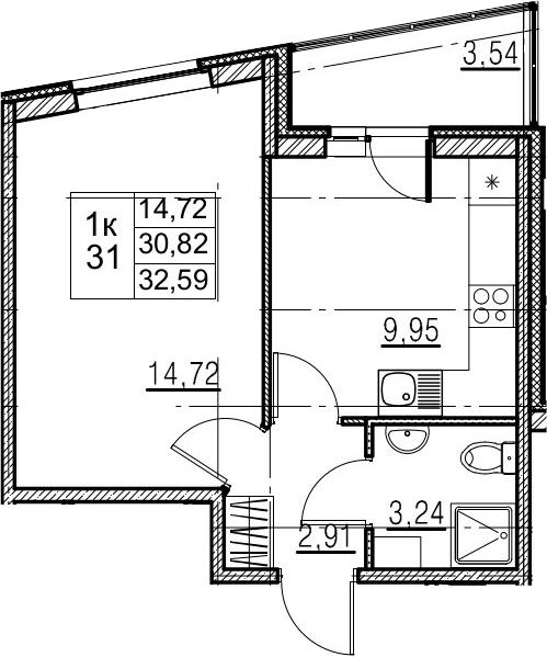 1-к.кв, 34.36 м²