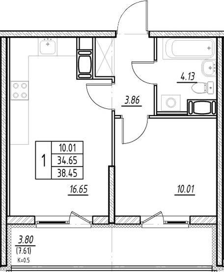 2Е-к.кв, 34.65 м²