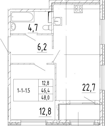2Е-к.кв, 48 м²