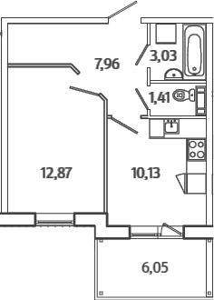 1-к.кв, 37.22 м², 5 этаж