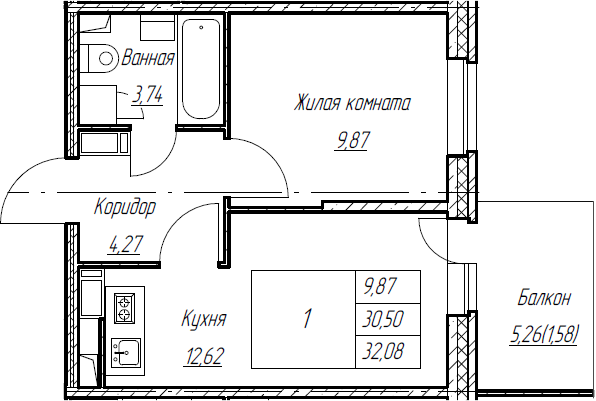 2Е-к.кв, 32.08 м², от 5 этажа