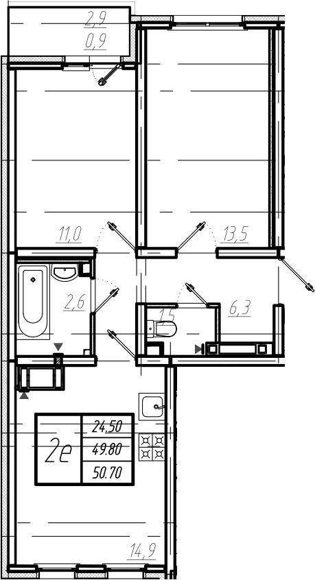 3Е-к.кв, 50.7 м², от 3 этажа