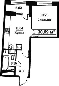 1-к.кв, 30.69 м², от 4 этажа