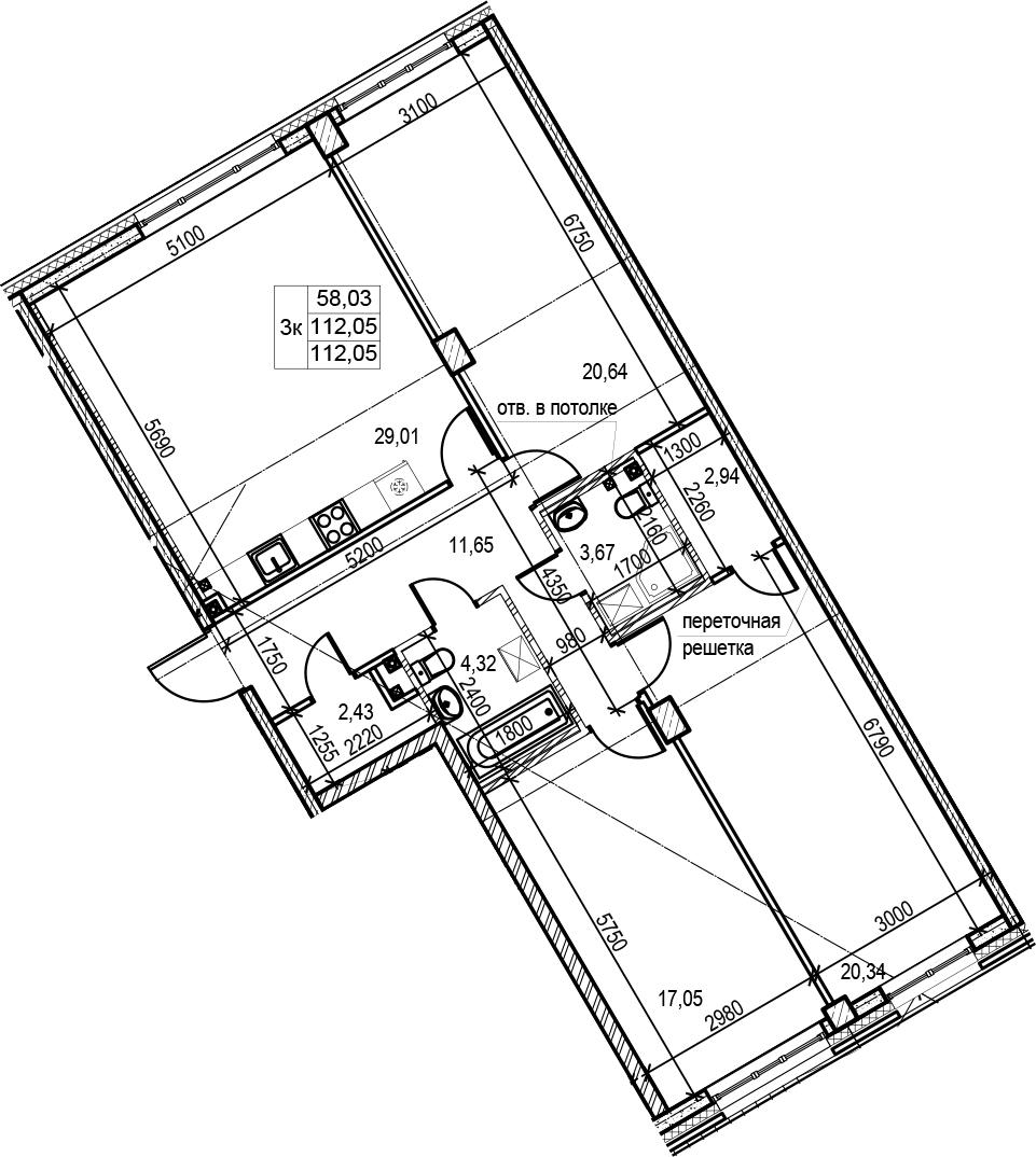4Е-к.кв, 112.05 м², 1 этаж