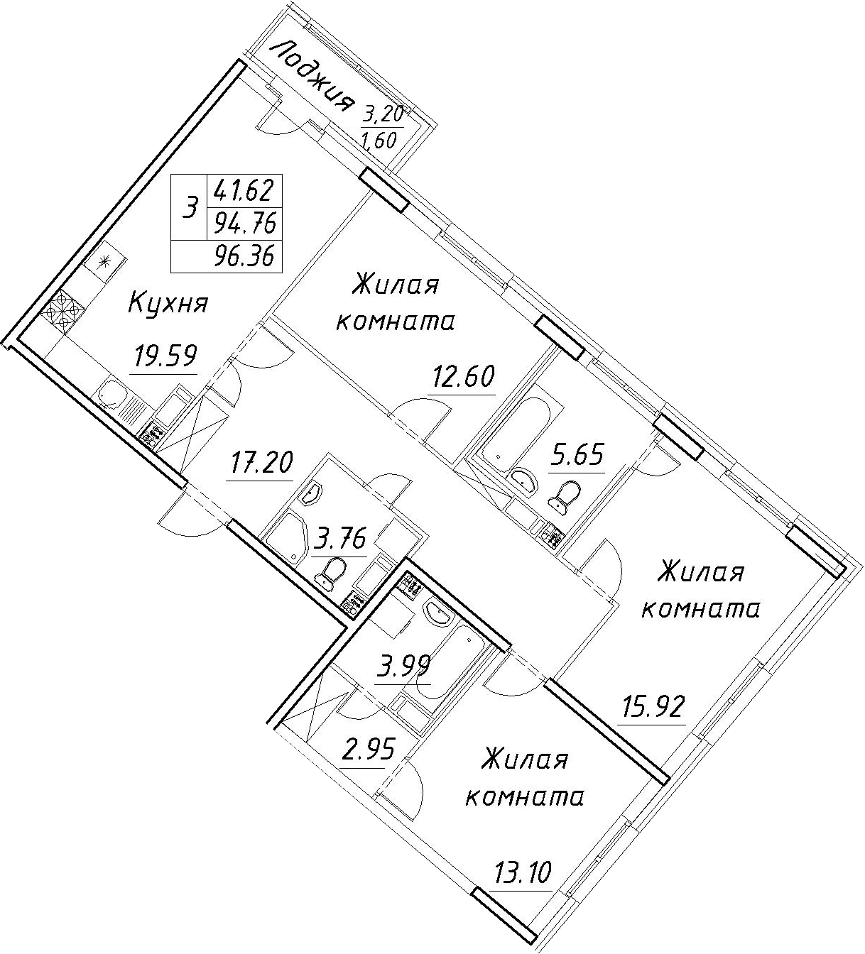 4Е-к.кв, 96.36 м², 12 этаж