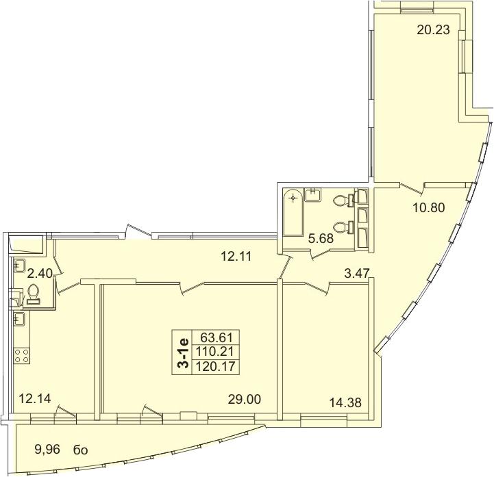 3-к.кв, 115.7 м²