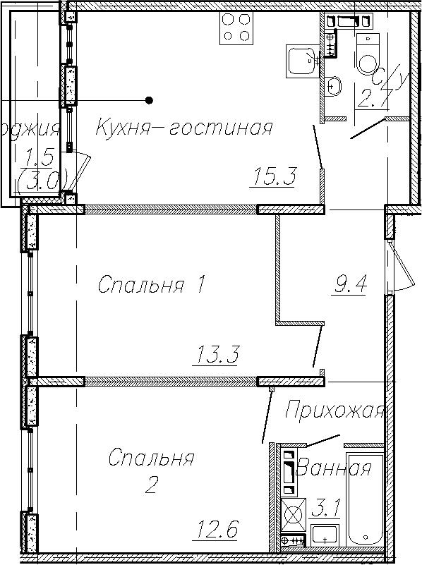 3Е-к.кв, 56.4 м², 4 этаж