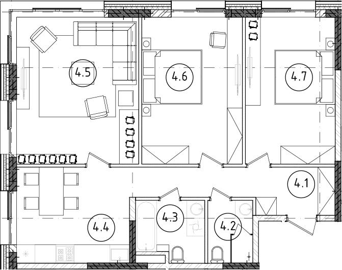 3-к.кв, 78.38 м², от 3 этажа