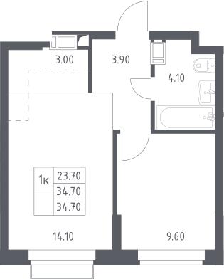 2Е-к.кв, 34.7 м², 12 этаж