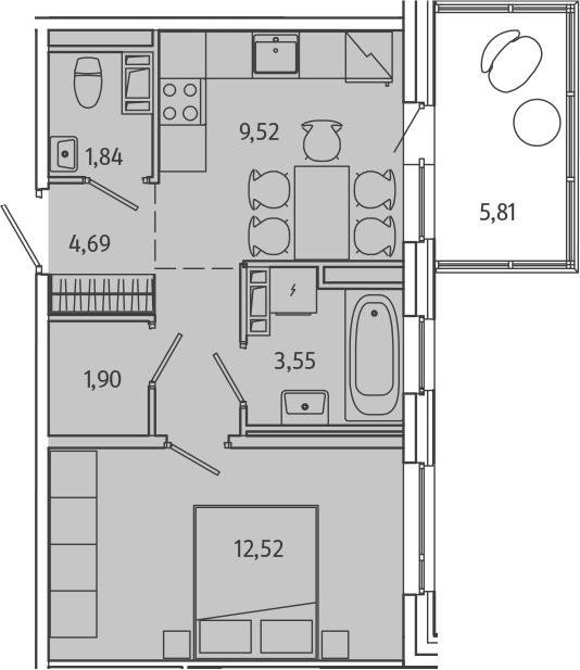 1-к.кв, 35.76 м², 9 этаж