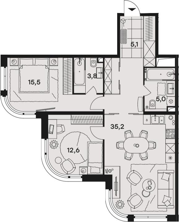 3Е-к.кв, 77.2 м², от 14 этажа