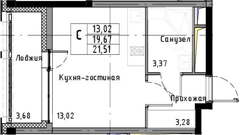 Студия, 21.51 м², 9 этаж