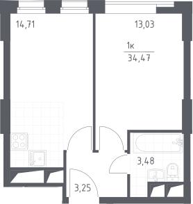 2Е-к.кв, 34.47 м², от 13 этажа