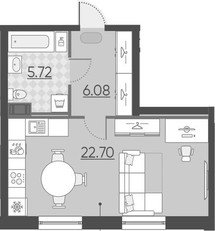 Студия, 34.5 м²