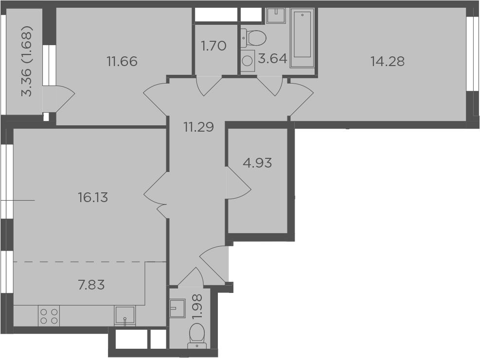 3Е-комнатная, 75.12 м²– 2