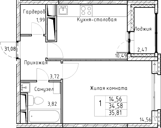 1-комнатная, 35.81 м²– 2