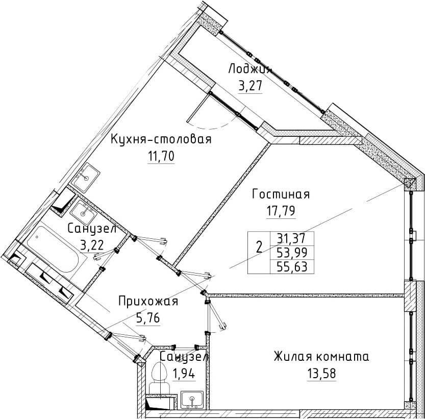 2-к.кв, 55.63 м²