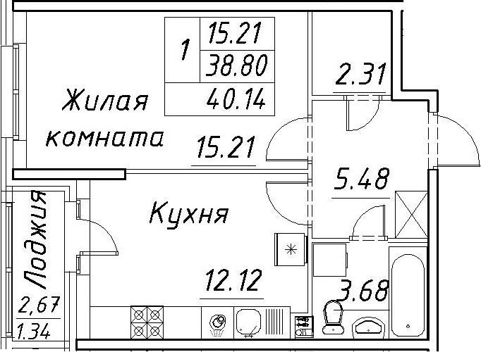 1-к.кв, 41.48 м²